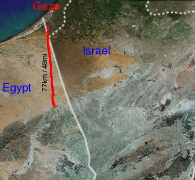 Israel, Gaza, and Egypt map