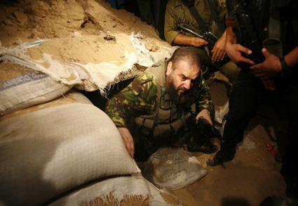 Hamas terror leader Nizar Rayan emerging from apparently fortified tunnel in Gaza